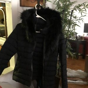 Mackage black fur hooded jacket